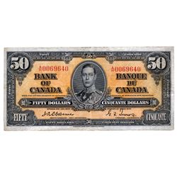 BANK OF CANADA. $50.00. 1937 Issue. BC-26a. Osborne-Towers. No. A/H0069640. PMG graded Very Fine-35.