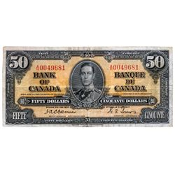 BANK OF CANADA. $50.00. 1937 Issue. BC-26a. Osborne- Towers. No. A/H0049681. PMG graded Very Fine-25