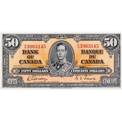 BANK OF CANADA. $50.00. 1937 Issue. BC-26b. Gordon- Towers. No. B/H3963145. BCS graded Unc-60, (orig