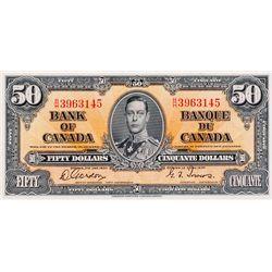 BANK OF CANADA. $50.00. 1937 Issue. BC-26b. Gordon- Towers. No. B/H3963145. BCS graded Unc-60, (orig