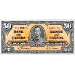 BANK OF CANADA. $50.00. 1937 Issue. BC-26b. Gordon- Towers. No. B/H1449188. PCGS graded Extra Fine-4
