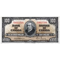 BANK OF CANADA. $100.00. 1937 Issue. BC-27a. Osborne-Towers. No. A/J0015708. PMG graded Extra Fine-4