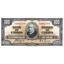 BANK OF CANADA. $100.00. 1937 Issue. BC-27c. Coyne-Towers. No. B/J4887388. PCGS graded Extra Fine-40