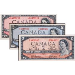 BANK OF CANADA. $2.00. 1954 Issue. BC-38a. Beattie- Coyne. No. I/B9060802. Extra Fine. A scarce pref