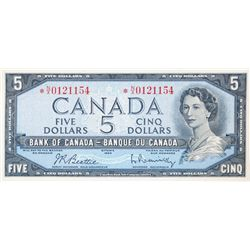 BANK OF CANADA. $5.00. 1954 Issue. BC-39bA. Beattie- Rasminsky. No. *N/X0121154. CCCS graded AU-58.
