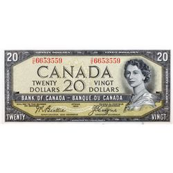 BANK OF CANADA. $20.00. 1954 Issue. BC-33b. Beattie-Coyne. 'Devil's Face'. No. D/E6653559. PCGS grad