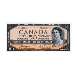 BANK OF CANADA. $50.00. 1954 Issue. BC-34a. Coyne-Towers, 'Devil's Face'. No. A/H0510972. PMG graded