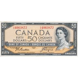BANK OF CANADA. $50.00. 1954 Issue. BC-42a. Beattie-Coyne. Modified. No. A/H4963872. CCCS graded Unc