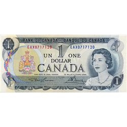BANK OF CANADA. $1.00. 1973 Issue. BC-46aA-i. Litho. No. EAX0717120. CCCS graded AU-55.