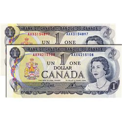 BANK OF CANADA. $1.00. 1973 Issue. BC-46aA-i. Lawson-Bouey. No. AAX3154897; $1.00. 1973 Issue. BC-46