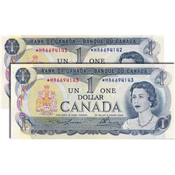 BANK OF CANADA. $1.00. 1973 Issue. BC-46aA. Lawson-Bouey. No. *MR6694142. No. *MR6694143. Lot of two