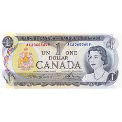 BANK OF CANADA. $1.00. 1973 Issue. BC-46aT-i. Lawson- Bouey. No. AXA0603649. Steel engraved. Unc.