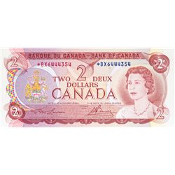 BANK OF CANADA. $2.00. 1974 Issue. BC-47aA. Lawson- Bouey. No. *BX6444354. PCGS graded Unc-66 PPQ.