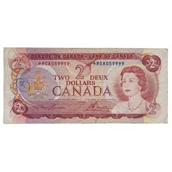 BANK OF CANADA. $2.00. 1974 Issue. BC-47aA. Lawson-Bouey. No. *RD8059999. A recently discovered, Rep