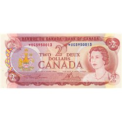 BANK OF CANADA. $2.00. 1974 Issue. BC-47aA. Lawson-Bouey. No. *UG5950013. A scarcer prefix. Choice C