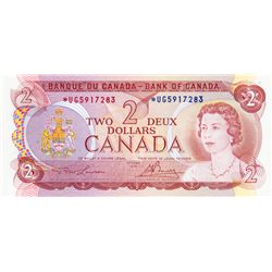 BANK OF CANADA. $2.00. 1974 Issue. BC-47aA. Lawson- Bouey. No. *UG5917283. Unc.