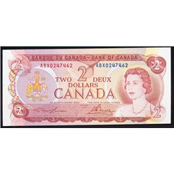 BANK OF CANADA. $2.00. 1974 Issue. BC-47aA-i. Lawson- Bouey. No. ABX0247462. Choice Unc-64. PPQ.