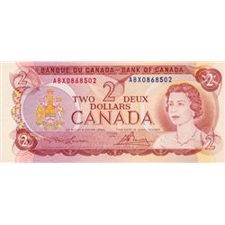 BANK OF CANADA. $2.00. 1974 Issue. BC-47aA-i. Lawson- Bouey. No. ABX0868502. CCCS graded Unc-60.