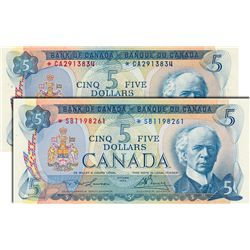 BANK OF CANADA. $5.00. 1972 Issue. BC-48aA. Bouey-Rasminsky. No. *CA2913834. CCCS graded Choice Unc-