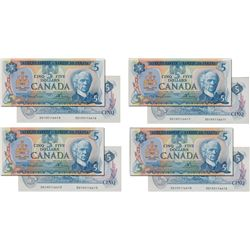 BANK OF CANADA. $5.00. 1979 Issue. BC-53a. Lawson-Bouey. No. 30195116410, 6411, 6413, 6416. All four