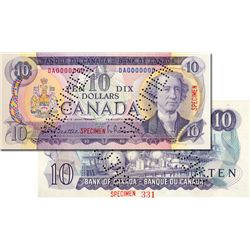 BANK OF CANADA. $10.00. 1971 Issue. BC-49a. Beattie-Rasminsky. No. DA0000000. A Specimen. Punch canc