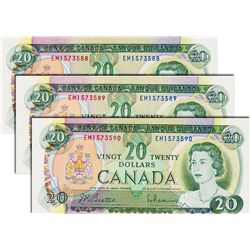 BANK OF CANADA. $20.00. 1969 Issue. BC-50a. Beattie-Rasminsky. No.'s EM1573588, 3589, 3590. All thre