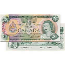 BANK OF CANADA. $20.00. 1979 Issue. BC-54a. Lawson-Bouey. No. 50138165867 & 50138165868. Both notes