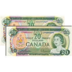 BANK OF CANADA. $20.00. 1969 Issue. BC-50a. Beattie-Rasminsky. No. EC1771767, No. EP4895097. Both CC