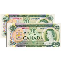 BANK OF CANADA. $20.00. 1969 Issue. BC-50a. Beattie-Rasminsky. No.'s EF4420702 & EF4420703. Both BCS