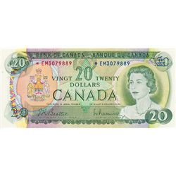 BANK OF CANADA. $20.00. 1969 Issue. BC-50aA. Beattie- Rasminsky. No. *EM3079889. CCCS graded AU-50.