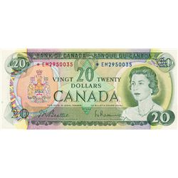 BANK OF CANADA. $20.00. 1969 Issue. BC-50aA. Beattie-Rasminsky. No. *EM2950035. CCCS graded Extra Fi