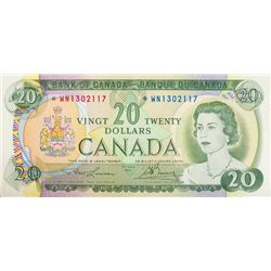 BANK OF CANADA. $20.00. 1969 Issue. BC-50bA. Lawson- Bouey. No. *WN1302117. CCCS graded Unc-60.