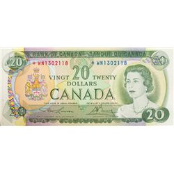 BANK OF CANADA. $20.00. 1969 Issue. BC-50bA. Lawson- Bouey. No. *WN1302118. CCCS graded Unc-60.