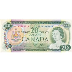 BANK OF CANADA. $20.00. 1969 Issue. BC-50bA. Lawson- Bouey. No. *YA2206528. CCCS graded Almost Unc-5