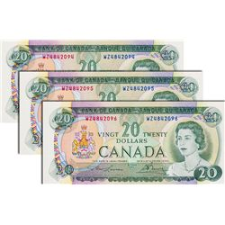BANK OF CANADA. $20.00. 1969 Issue. BC-50bA. Lawson-Bouey. No.'s WZ4842094, 2095, 2096. All three (3