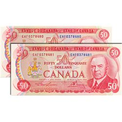 BANK OF CANADA. $50.00. 1975 Issue. BC-51a-i. Lawson-Bouey. No. EHF0378480 & EHF0378481. Both CCCS g