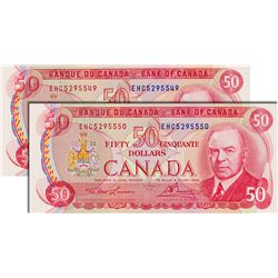 BANK OF CANADA. $50.00. 1975 Issue. BC-51a-i. Lawson-Bouey. No.'s EHC5295549 & EHC5295550. Lot of tw