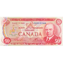 BANK OF CANADA. $50.00. 1975 Issue. BC-51aA-i. Lawson- Bouey. No. EHX0131464. CCCS graded Very Fine-