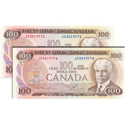 BANK OF CANADA. $100.00. 1975 Issue. BC-52a. Lawson-Bouey. No. JC3419775 & JC3419776. Both CCCS grad