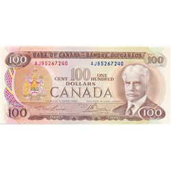 BANK OF CANADA. $100.00. 1975 Issue. BC-52a-i. Lawson- Bouey. No. AJB5267240. CCCS graded Gem Unc-65