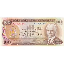 BANK OF CANADA. $100.00. 1975 Issue. BC-52a-i. Lawson- Bouey. No. AJB5267241. CCCS graded Choice Unc