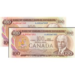 BANK OF CANADA. $100.00. 1975 Issue. BC-52a-i. Lawson-Bouey. No. AJB5267249. CCCS graded Unc-62; No.