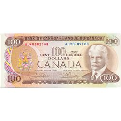 BANK OF CANADA. $100.00. 1975 Issue. BC-52bA. Crow- Bouey. No. AJX0382108. CCCS graded Mint State-64