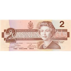 BANK OF CANADA. $2.00. 1986 Issue. BC-55a. Crow- Bouey. No. AUH4858932. CCCS graded Gem Unc-66.
