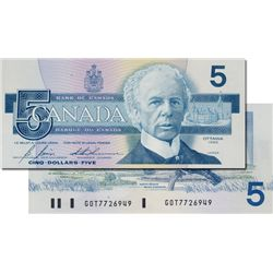 BANK OF CANADA. $5.00. 1986 Issue. BC-56cA. Bonin-Thiessen. No. GOT7726949. An insert note. CCCS gra