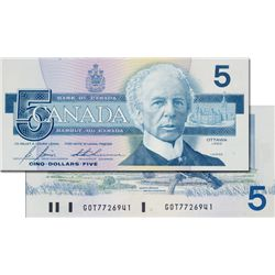 BANK OF CANADA. $5.00. 1986 Issue. BC-56cA. Bonin-Thiessen. No. GOT7726941. An insert note. CCCS gra