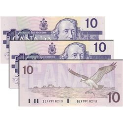 BANK OF CANADA. $10.00. 1989. BC-57c. No. BEF9918211, BEF9918212 and BEF9918213. One CCCS graded Gem