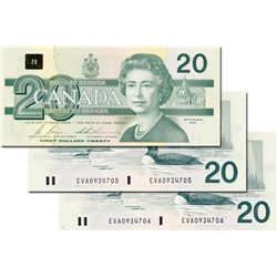BANK OF CANADA. $20.00. 1991 Issue. BC-58b. No. EVA0924704, EVA0924705 and EVA0924706. All three (3)