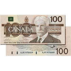 BANK OF CANADA. $100.00. 1988 Issue. BC-60a. No. AJR1970449. H.B.P. CCCS graded Gem Unc-66.