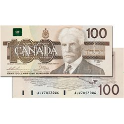 BANK OF CANADA. $100.00. 1988 Issue. BC-60a. No. AJV7023046. H.B.P. #95. CCCS graded Gem Unc-65.